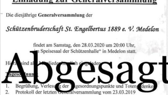 Absage Generalversammlung 2020
