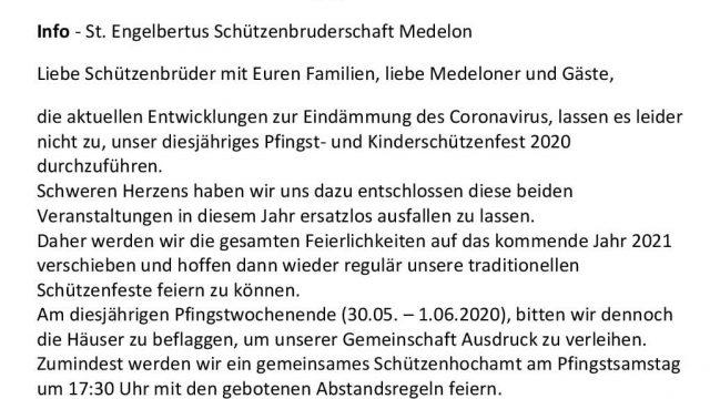 Absage Schützenfest Kinderschützenfest 2020